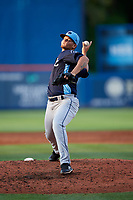 Charlotte Stone Crabs relief pitcher Adrian Navas (15) delivers a pitch during the first game of a doubleheader against the St. Lucie Mets on April 24, 2018 at First Data Field in Port St. Lucie, Florida.  St. Lucie defeated Charlotte 5-3.  (Mike Janes/Four Seam Images)