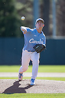 North Carolina Tar Heels starting pitcher J.B. Bukauskas (38) in action against the Kentucky Wildcats at Boshmer Stadium on February 17, 2017 in Chapel Hill, North Carolina.  The Tar Heels defeated the Wildcats 3-1.  (Brian Westerholt/Four Seam Images)