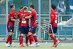 v.li.: Raphael Hartkopf (MHC, 6), Torschütze Gonzalo Peillat (MHC, 2), Linus Müller (MHC, 10), Paul Zmyslony (MHC, 13), Dan Nguyen Luong (Danny Nguyen, MHC, 22), Spieler vom Mannheimer HC (MHC), jubeln über das Tor zum 3:2, Jubel, Torjubel, Torerfolg, celebrate the goal, goal, celebration, Jubel ueber das Tor, optimistisch, Spielszene, Highlight, Action, Aktion, 01.05.2021, Mannheim  (Deutschland), Hockey, Deutsche Meisterschaft, Viertelfinale, Herren, Mannheimer HC - Harvestehuder THC <br /> <br /> Foto © PIX-Sportfotos *** Foto ist honorarpflichtig! *** Auf Anfrage in hoeherer Qualitaet/Aufloesung. Belegexemplar erbeten. Veroeffentlichung ausschliesslich fuer journalistisch-publizistische Zwecke. For editorial use only.