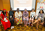 25 June, 2018, Kuala Lumpur, Malaysia : From left - Aei Satu Bouba of Cameroon, Belinda Akeyo of Kenya, Nyaradzayi Gumbonzvanda of Zimbabwe Hadiqa Bashir of Pakistan, Fraidy Reiss of the USA and Shaheen Hashmat of GNB at the session Survivor Advocacy on the opening day at the Girls Not Brides Global Meeting 2018 at the Kuala Lumpur Convention Centre. Picture by Graham Crouch/Girls Not Brides