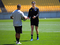 Assistant coach Carlos Spencer and Jordie Barrett. Hurricanes captain's run at Sky Stadium in Wellington, New Zealand on Friday, 14 February 2020. Photo: Dave Lintott / lintottphoto.co.nz