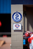 Dugout sign for Derek Jeter Field during a New York Yankees Minor League Spring Training game against the Philadelphia Phillies on March 23, 2019 at the New York Yankees Minor League Complex in Tampa, Florida.  (Mike Janes/Four Seam Images)