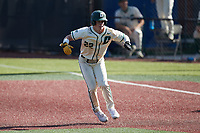 Dominic Pilolli (22) of the Charlotte 49ers takes his lead off of first base against the Old Dominion Monarchs at Hayes Stadium on April 25, 2021 in Charlotte, North Carolina. (Brian Westerholt/Four Seam Images)