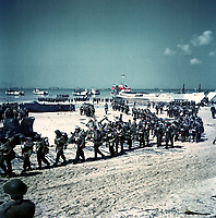 6 June 1944 File Photo - FRANCE -<br /> Canadian soldiers on Juno Beach, on D Day