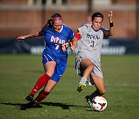 Emily Menges (3) of Georgetown fights for the ball with Elise Wyatt (7) of DePaul during the game at Shaw Field on the campus of Georgetown University in Washington, DC.  Georgetown tied DePaul, 1-1, in double overtime.