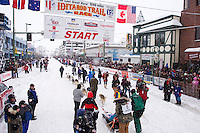 Saturday, March 3, 2012  Tom Thurston at the start line of the Ceremonial Start of Iditarod 2012 in Anchorage, Alaska.