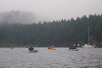 Paddling Out of Reid Harbor, Stuart Island, Washington, US
