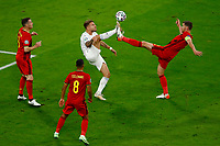 Ciro Immobile of Italy and Jan Vertonghen of Belgium compete for the ball during the Uefa Euro 2020 round of 8 football match between Belgium and Italy at football arena in Munich (Germany), July 2nd, 2021. Photo Matteo Ciambelli / Insidefoto