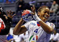 France's Nina Kamto Njitam in action during handball Women's World Championship match between Dominican Republic and France in Belgrade, Serbia on Sunday, December 08, 2013. (credit image & photo: Pedja Milosavljevic / STARSPORT / +318 64 1260 959 / thepedja@gmail.com)
