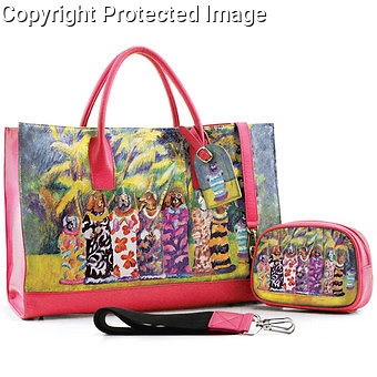 """""""Miss Waikiki Beach""""<br /> Leather Handbag by Icon Shoes.<br /> <br /> No longer available."""