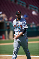 Inland Empire 66ers starting pitcher Travis Herrin (45) walks off the field between innings of a California League game against the Lake Elsinore Storm on April 14, 2019 at The Diamond in Lake Elsinore, California. Lake Elsinore defeated Inland Empire 5-3. (Zachary Lucy/Four Seam Images)