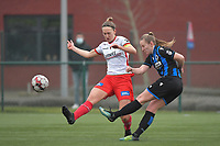 Pauline Windels (5) of Zulte-Waregem and Elle Decorte (7) of Club Brugge  pictured during a female soccer game between SV Zulte - Waregem and Club Brugge YLA on the 13 th matchday of the 2020 - 2021 season of Belgian Scooore Womens Super League , saturday 6 th of February 2021  in Zulte , Belgium . PHOTO SPORTPIX.BE   SPP   DIRK VUYLSTEKE