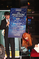 Jane Elissa presents the Shining Star Award to Broadway's  James Barbour, the star of The Phantom of the Opera holding auction item a signed by the entire cast of The Phantom at The 29th Annual Jane Elissa Extravaganza which benefits The Jane Elissa Charitable Fund for Leukemia & Lymphoma Cancer, Broadway Cares and other charities on November 14, 2016 at the New York Marriott Hotel, New York City presented by Bridgehampton National Bank and Walgreens.  The event is a Cabaret with singer Sean McDermott (Guiding Light) (Photo by Sue Coflin/Max Photos)