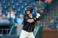 Patrick Dorrian (15) of the Ocelotes de Greensboro at bat against the Hickory Crawdads at First National Bank Field on June 11, 2019 in Greensboro, North Carolina. The Crawdads defeated the Ocelotes 2-1. (Brian Westerholt/Four Seam Images)