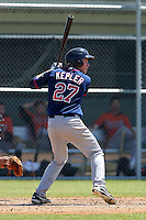 Minnesota Twins outfielder / first baseman Max Kepler #27 during a minor league spring training game against the Baltimore Orioles at the Buck O'Neil Complex on March 19, 2012 in Sarasota, Florida.  (Mike Janes/Four Seam Images)