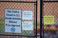 To comply with State of North Carolina mandates during the Covid-19 pandemic only 25 fans are permitted inside the stadium to watch the NC3 baseball game between Kannapolis and Mocksville-Davie at Mando Field at Rich Park on July 4, 2020 in Mocksville, NC. (Brian Westerholt/Four Seam Images)