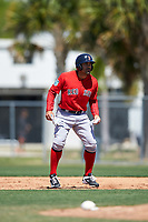 Boston Red Sox Carlos Quentin (18) leads off during a minor league Spring Training game against the Baltimore Orioles on March 16, 2017 at the Buck O'Neil Baseball Complex in Sarasota, Florida. (Mike Janes/Four Seam Images)