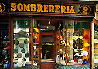 Spain. Barcelona.  Hat shop. Sombrereria.