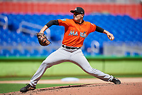 Miami Marlins pitcher Alex Vesia (64) delivers a pitch during a Florida Instructional League game against the Washington Nationals on September 26, 2018 at the Marlins Park in Miami, Florida.  (Mike Janes/Four Seam Images)