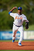 St. Lucie Mets starting pitcher Justin Dunn (19) delivers a pitch during the first game of a doubleheader against the Charlotte Stone Crabs on April 24, 2018 at First Data Field in Port St. Lucie, Florida.  St. Lucie defeated Charlotte 5-3.  (Mike Janes/Four Seam Images)