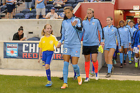 Chicago, IL - Wednesday Sept. 07, 2016: Christen Press, player escort during a regular season National Women's Soccer League (NWSL) match between the Chicago Red Stars and FC Kansas City at Toyota Park.