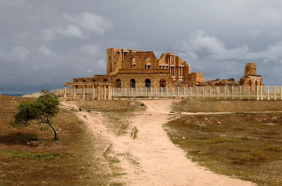 Sabratha, Libya - Roman Theater.  Peristyle House, left of center.