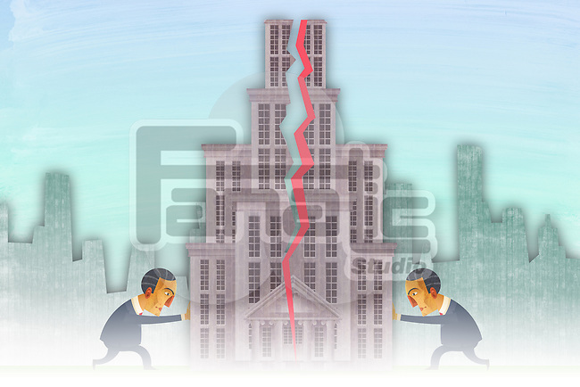 Illustrative image of businessmen pushing building parts representing merger partnership