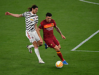 Football: Uefa Europa League - semifinal 2nd leg AS Roma vs Manchester United Olympic Stadium. Rome, Italy, May 6, 2021.<br /> Manchester United's Edinson Cavani (L) in action with Roma's Roger Ibanez (R) during the Europa League football match between Roma and Manchester United at Rome's Olympic stadium, Rome, on May 6, 2021.  <br /> UPDATE IMAGES PRESS/Isabella Bonotto