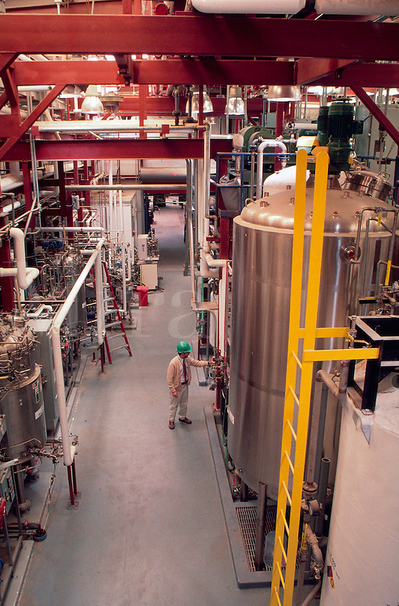 Technician dwarfed by equipment in Ethanol pilot plant, Golden, Colorado