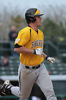 Wichita State Shockers first baseman Casey Gillaspie #16 during a game against the Coastal Carolina Chanticleers at Ticketreturn.com Field at Pelicans Ballpark on February 23, 2014 in Myrtle Beach, South Carolina. Wichita State defeated Coastal Carolina by the score of 5-2. (Robert Gurganus/Four Seam Images)