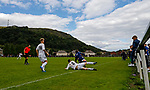 Burntisland Shipyard 0 Colville Park 7, 12/08/2017. The Recreation Ground, Scottish Cup First Preliminary Round. Conor Drury of Burntisland brings down the Colville Park left winger and receives a yellow card. Photo by Paul Thompson.