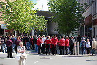 Pictured: A crowd of people by the bus station entrance which is closed by police Wednesday 24 May 2017<br />Re: The Quadrant shopping centre in Swansea has been evacuated following reports of a suspicious package being found.<br />The bus station and Swansea Indoor Market have also been closed as part of the evacuation.