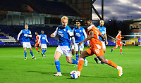 Blackpool's Sullay Kaikai vies for possession with Peterborough United's Ryan Broom<br /> <br /> Photographer Chris Vaughan/CameraSport<br /> <br /> The EFL Sky Bet League One - Peterborough United v Blackpool - Saturday 21st November 2020 - London Road Stadium - Peterborough<br /> <br /> World Copyright © 2020 CameraSport. All rights reserved. 43 Linden Ave. Countesthorpe. Leicester. England. LE8 5PG - Tel: +44 (0) 116 277 4147 - admin@camerasport.com - www.camerasport.com