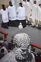 Statue St Peter Basilica St Peter at the Vatican.,Pope Francis celebrates the Holy Mass with the Rite of Confirmation  in St Peter Square at the Vatican.on April 28, 2013
