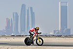 David Dekker (NED) Team Jumbo-Visma wearing the leaders Red Jersey as race leader Mathieu van der Poel's (NED) Alpecin-Fenix team has had to withdraw after a team member tested positive for Covid during Stage 2 of the 2021 UAE Tour an individual time trial running 13km around Al Hudayriyat Island, Abu Dhabi, UAE. 22nd February 2021.  <br /> Picture: LaPresse/Fabio Ferrari | Cyclefile<br /> <br /> All photos usage must carry mandatory copyright credit (© Cyclefile | LaPresse/Fabio Ferrari)