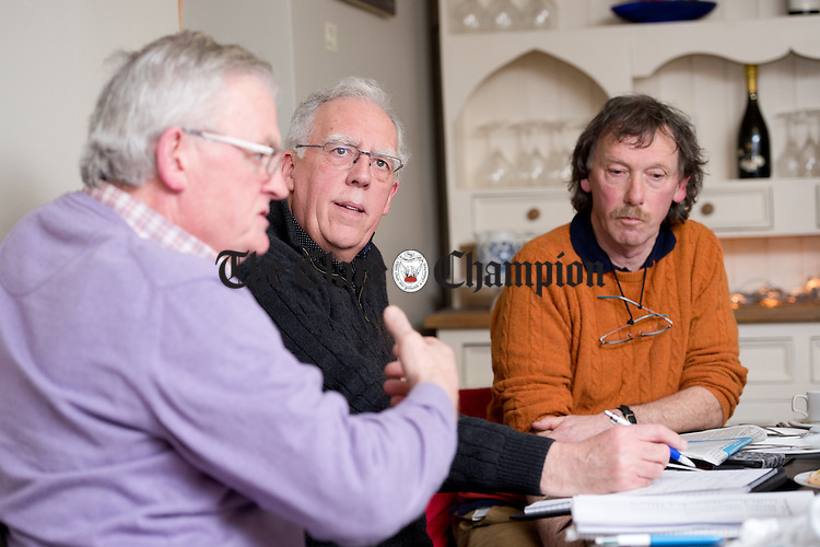 Tony Killeen, former Fianna Fail TD and defence minister and Martin Lynch, former Fine Gael director of elections and Joe Carey TD's director of elections for GE2016 listen to Michael Leyden, Labour Party activist speaking at the Clare Champion round table General Election 2016 debate in Cairde cafe, Ennis. Photograph by John Kelly.