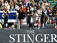 Photo: Richard Lane/Richard Lane Photography. London Wasps v Gloucester. The Stinger at Twickenham Stadium. Aviva Premiership. 19/04/2014. Little Mix perform the pre-match entertainment.