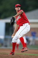 Batavia Muckdogs pitcher Travis Lawler (20) during a game vs. the Auburn Doubledays at Dwyer Stadium in Batavia, New York July 3, 2010.   Auburn defeated Batavia 4-0.  Photo By Mike Janes/Four Seam Images