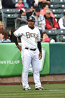 Keith Johnson (21) of the Salt Lake Bees during the game against the Sacramento River Cats at Smith's Ballpark on April 3, 2014 in Salt Lake City, Utah.  (Stephen Smith/Four Seam Images)