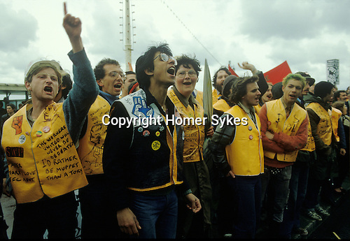 The People's March for Jobs Right To Work march. Brighton 1981. Protesters outside the conference centre where Mrs Thatcher <br /> will address the Conservative Party Conference. 1980s.