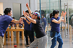 Apple Store staff greets shoppers at the Apple Store in Tokyo's Omotesando shopping district in Japan on September 22, 2017. Apple Inc.'s new iPhone 8 and iPhone 8 Plus smartphones went on sale in Japan. (Photo by YUTAKA/AFLO)