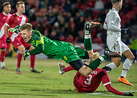 COLLEGE PARK, MD - NOVEMBER 15: Niklas Neumann #36 of Maryland clashes with Simon Waever #3 of Indiana during a game between Indiana University and University of Maryland at Ludwig Field on November 15, 2019 in College Park, Maryland.