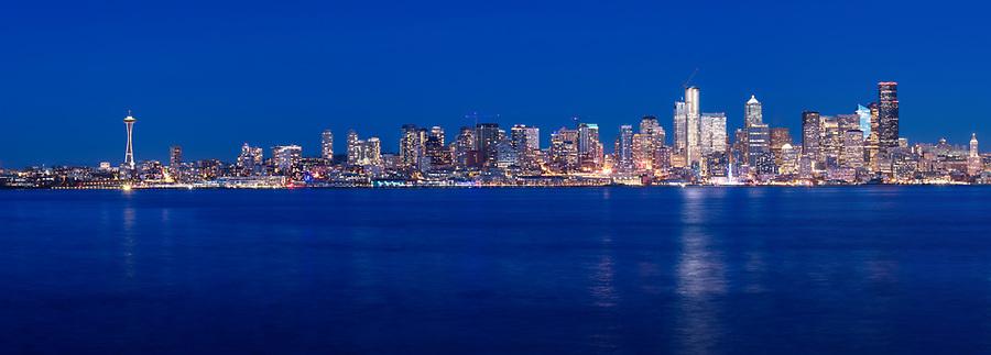 Panorama of Seattle skyline at night, viewed from West Seattle, Washington, USA