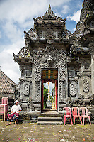 Jatiluwih, Bali, Indonesia.  Doorway Exit from Inner Courtyard, Luhur Bhujangga Waisnawa Hindu Temple.  Hindu Deity Kala above the Doorway.