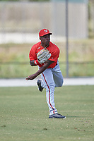 Washington Nationals Daniel Johnson (6) throws from the outfield during practice before a minor league Spring Training game against the St. Louis Cardinals on March 27, 2017 at the Roger Dean Stadium Complex in Jupiter, Florida.  (Mike Janes/Four Seam Images)