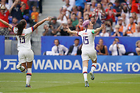 LYON, FRANCE - JULY 07: Megan Rapinoe #15 of the United States celebrates scoring during the 2019 FIFA Women's World Cup France final match between the Netherlands and the United States at Stade de Lyon on July 07, 2019 in Lyon, France.