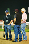 DUBAI,UNITED ARAB EMIRATES-MARCH 29: Bob Baffert (trains Mubtaahij and West Coast,right),Jimmy Barns (assistant trainer,middle) and Scot Brasi (assistant to Steve Asmussen,trains Reride),on the dirt track at Meydan Racecourse on March 29,2018 in Dubai,United Arab Emirates (Photo by Kaz Ishida/Eclipse Sportswire/Getty Images)