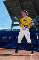 Michigan Wolverines left fielder Miles Lewis (3) warms up before a game against Army West Point on February 17, 2018 at Tradition Field in St. Lucie, Florida.  Army defeated Michigan 4-3.  (Mike Janes/Four Seam Images)