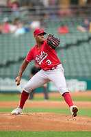 Louisville Bats pitcher Hunter Greene (3) during a game against the Indianapolis Indians on August 25, 2021 at Victory Field in Indianapolis, Indiana.  (Mike Janes/Four Seam Images)
