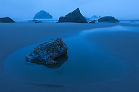 The blue-hour of twilight, Bandon Beach, Oregon.